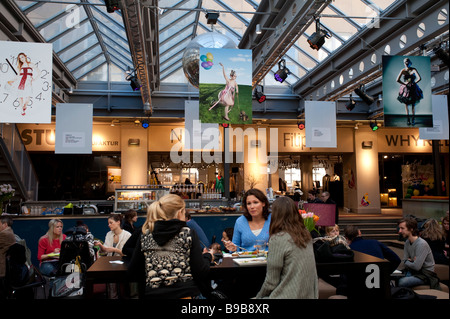 Cafe and chic fashion shops in Sodermalm district of Stockholm Sweden - Stock Photo