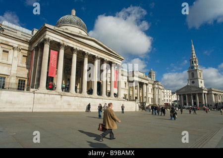 National Gallery and St Martin-in-the-Fields Church Trafalgar Square London England UK United Kingdom GB Great Britain - Stock Photo