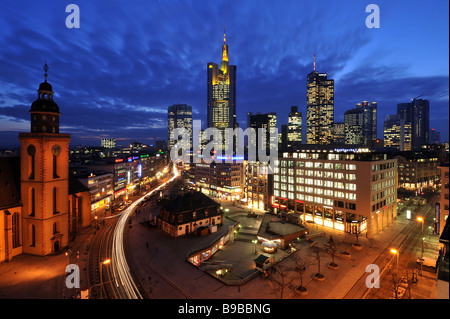 Skyline Frankfurt am Main Germany, March 2009 - Stock Photo