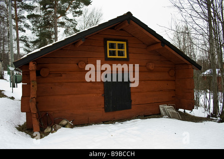 Hill farm with red small houses - Stock Photo