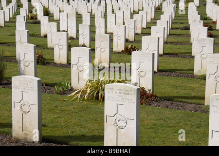 A view over British headstones in the Brookwood Military Cemetery, Woking. - Stock Photo