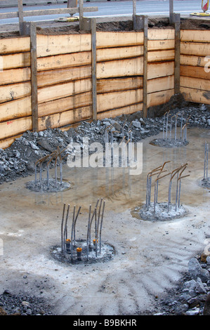 Construction of reinforced concrete foundation under the highway bridge bearing - Stock Photo