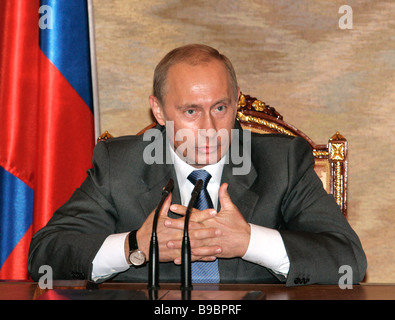 Russian President Vladimir Putin holds conference with the federal Cabinet in the Kremlin - Stock Photo