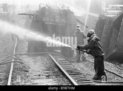 Decontamination of the Chernobyl NPP territory - Stock Photo