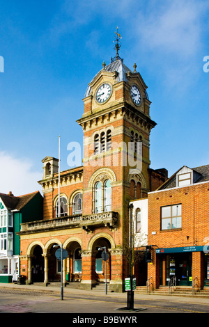 The Town Hall in the High Street in Hungerford Berkshire England UK with the Town Hall in the distance - Stock Photo
