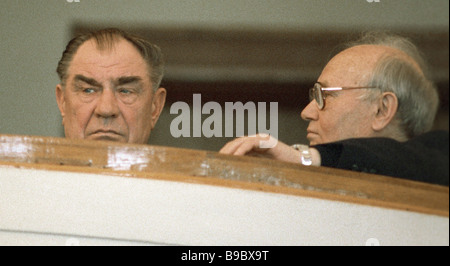The USSR Defense Minister Dmitry Yazov left and the USSR KGB chairman Vladimir Kryuchkov right at the 1st congress - Stock Photo