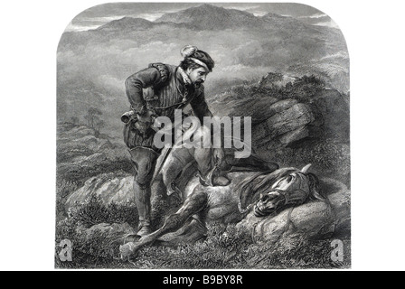 the death of the gallant grey horse equine ill country side exhausted period dress transport rider riding dying - Stock Photo