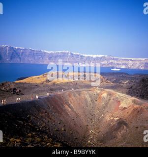 greece cyclades santorini a view towards thira from the caldera - Stock Photo