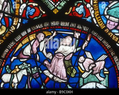 1455-1-28ay Abraham sacrificing Isaac Bible window Corona Chapel Canterbury Cathedral - Stock Photo