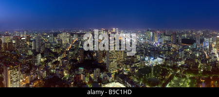 Evening cityscape of north east Tokyo - Stock Photo