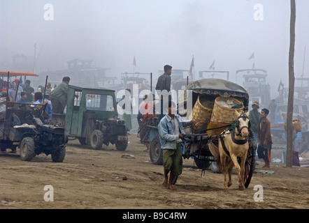 Scene in the early morning at the ferry station of Mandalay Myanmar - Stock Photo