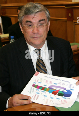 The Pension Fund board chairman Gennady Batanov at a cabinet session - Stock Photo