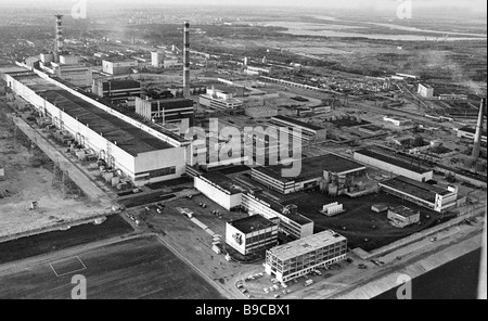 Panorama of Chernobyl nuclear power plant in May 1987 - Stock Photo