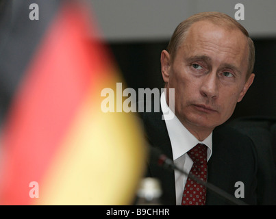 Russian President Vladimir Putin meets Bavarian researchers at the Residenz palatial complex in Munich - Stock Photo