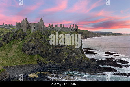 Dunluce Castle, near Portrush, North Antrim Coast, County Antrim, Northern Ireland - Stock Photo