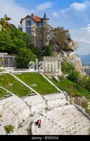Theatre of Ancient Philippopolis roman theatre Plodviv  Bulgaria - Stock Photo