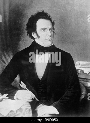 Reproduction of The Portrait of Franz Schubert by an unknown painter - Stock Photo