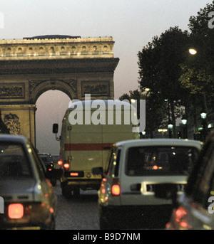 The Arc de Triomphe in Paris - Stock Photo