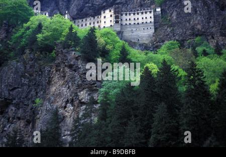 forest and cliffs Sumelia monastery UNESCO World Heritage Site Black Sea Coast Trabzon Turkey - Stock Photo