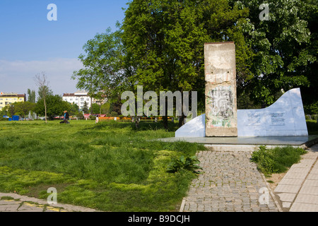 Berlin wall piece monument Yuzhen park Sofia Bulgaria - Stock Photo