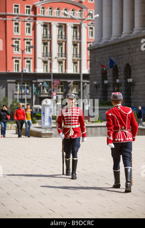 President's Palace guards Sofia Bulgaria - Stock Photo