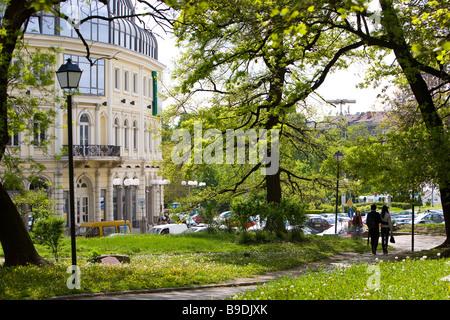 Gardens of Ethnographical museum Sofia Bulgaria - Stock Photo