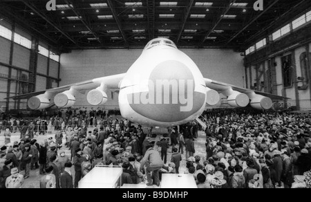 The Antonov aircraft R D bureau personnel in a rally to celebrate a maiden appearance of the AN 225 Mechta Dream - Stock Photo