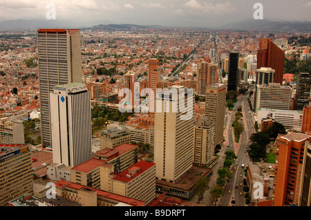 Skyscrapers buildings street megalopolis city highway Bogota Colombia south America offices business urban Carrera - Stock Photo