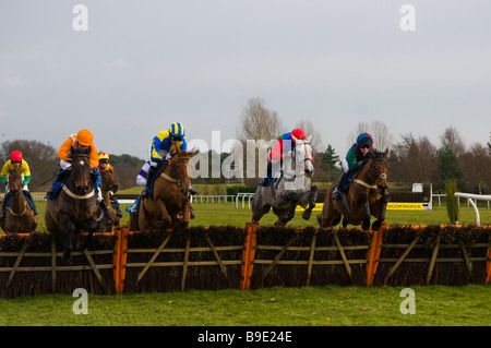 A hurdle race at Market Rasen races, Lincolnshire, England - Stock Photo