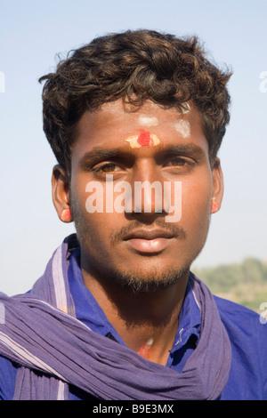 Portrait of a sadhu, Hampi, Karnataka, India - Stock Photo