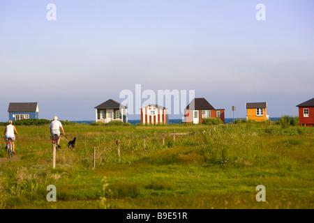 beach huts Aeroskobing Ærø island Funen Denmark - Stock Photo