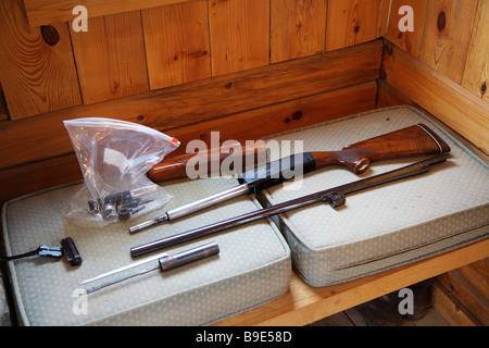 SHOTGUN DISASSEMBLED BEING CLEANED WEATHERBY CENTURION - Stock Photo