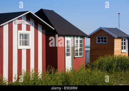 Beach Huts Ærøskøbing Ærø island Funen Denmark - Stock Photo