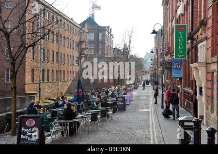 Pubs, Bars and Clubs along Canal Street in the Gay Village on a Friday evening, City Centre, Manchester, England - Stock Photo