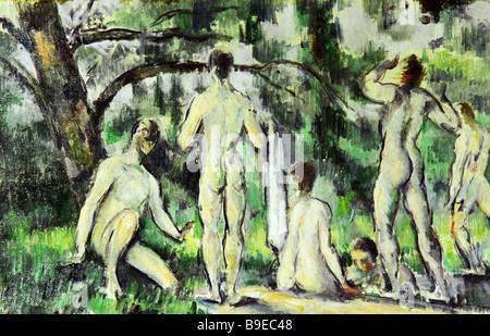 Paul Cezanne 1839 1906 Bathers Pushkin Museum of Fine Arts Reproduction - Stock Photo