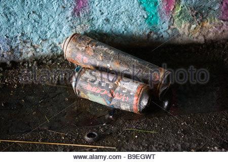 graffiti paint spray cans at the scene of graffiti in Etonwick Berkshire - Stock Photo