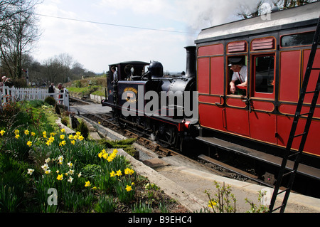 Kent East Sussex Railway a steam tank locomotive named Bodiam departing Tenterden Station East Sussex England UK - Stock Photo