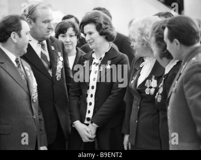 Hero of the Soviet Union Soviet space pilot Valentina Tereshkova among the 25th CPSU congress delegates - Stock Photo