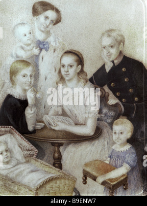 Reproduction of a miniature of the family of Mikhail Dostoyevsky brother of Fedor Dostoyevsky painted on ivory by - Stock Photo