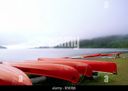 Canoes on Beach at Bowron Lake on Foggy Morning in Bowron Lake Provincial Park in the Cariboo Region of British - Stock Photo