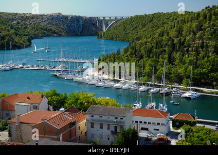 View of the marina and River Krka at Skradin on Dalmatian Coast of Croatia - Stock Photo