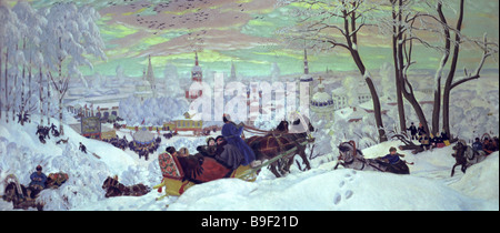 A reproduction of Boris Kustodiev s painting Shrovetide From the collection of the State Russian Museum - Stock Photo