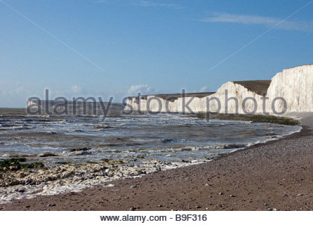 View towards Seven Sisters from Birling Gap, East Sussex, UK - Stock Photo