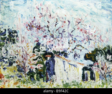 Reproduction of Paul Signac s 1863 1935 painting Spring in Provence from the Pushkin Fine Arts Museum collection - Stock Photo