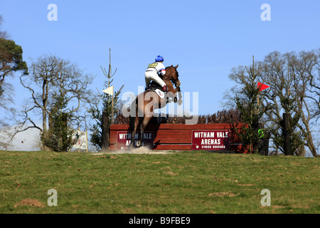 One day Horse trials event covering water jumps and unusual terrain - Stock Photo