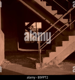 30er years construction mine concrete-stairways monument detail Germany meal buildings industry coal-embarkation - Stock Photo