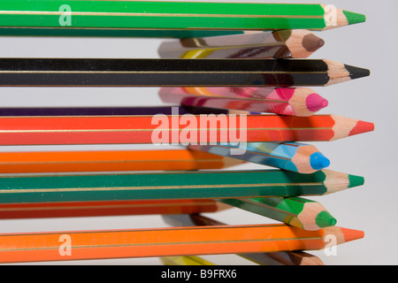 Color pencils sorted on each other. - Stock Photo