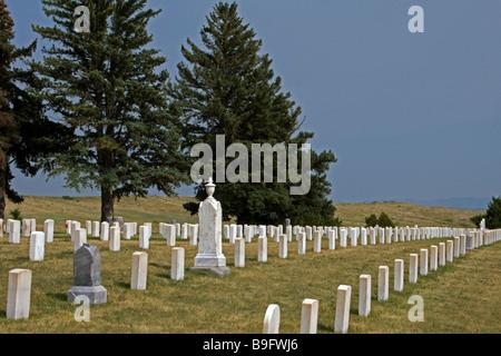 Grave stones Little Bighorn Battlefield near Crow Agency Montana USA - Stock Photo