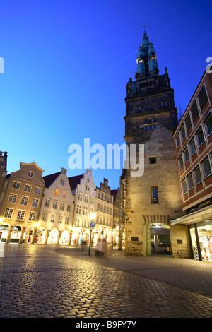 Munster, Muenster, Münster in Germany, North Rhine Westphalia, Prinzipalmarkt, Prinzipal market - Stock Photo