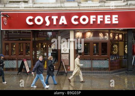 Costa coffee shop Manchester city centre UK - Stock Photo